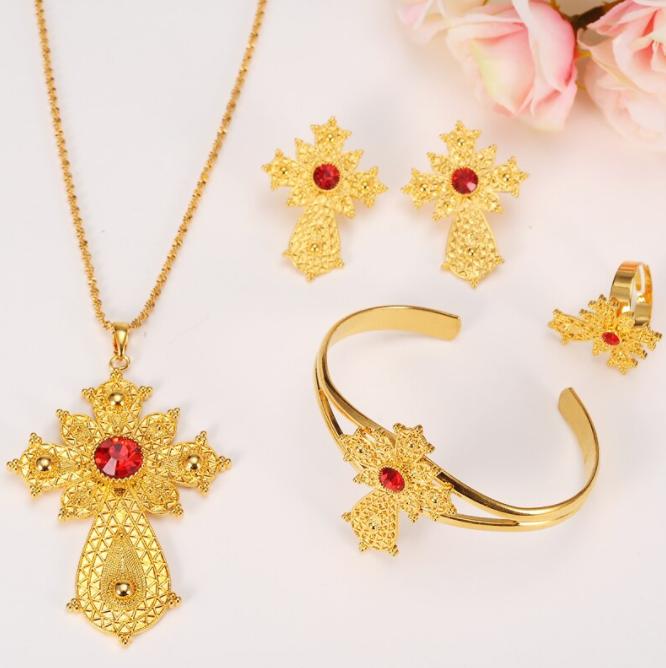 jewellery set cross red